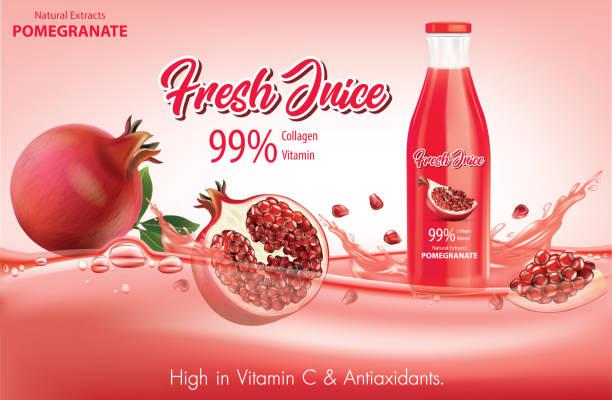 illustrazioni stock, clip art, cartoni animati e icone di tendenza di pomegranate juice with water splash.illustration vector - fruit juice bottle isolated