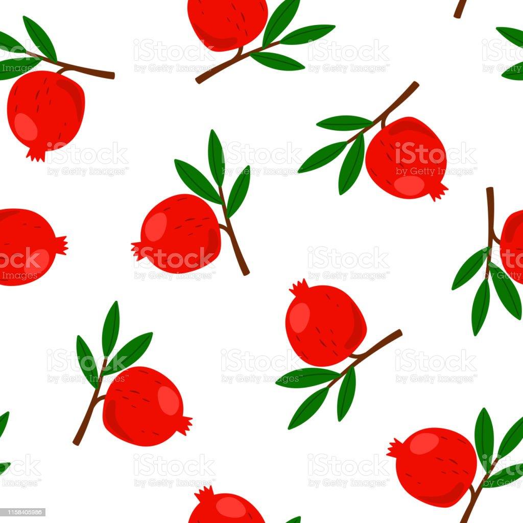 Pomegranate pattern cartoon flat design. Vector wallpaper...
