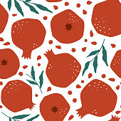 Modern vector seamless pattern with pomegranate. Organic fruit background. Vegetarian healthy food illustration. Tropical nature repeat background for textile and decoration design