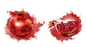 Pomegranate in juice splashes set, whole and quarter slices with seeds set isolated on white background, ripe garnet fruit design element for natural drink ad Realistic 3d vector illustration clip art