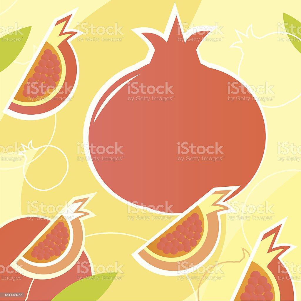 Pomegranate - wild retro vector stylized texture ( orange ) royalty-free stock vector art