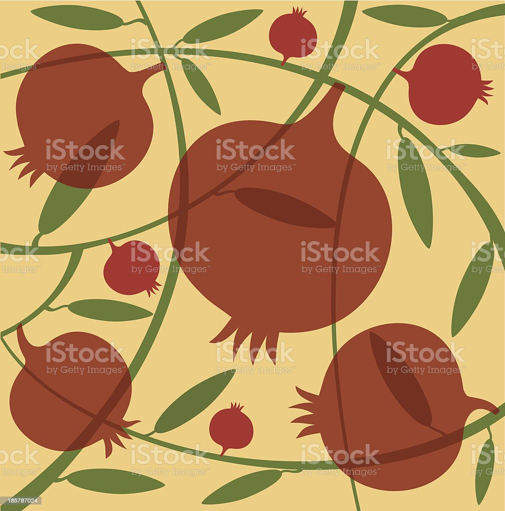 Pomegranates and Green Branches On Yellow Background royalty-free stock vector art