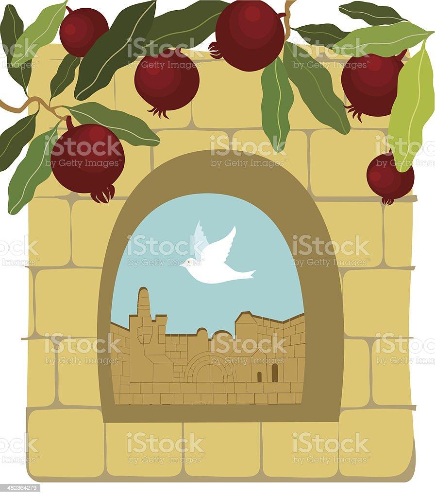 Pomegranates, Dove, Old Stone Wall,  Jerusalem royalty-free stock vector art
