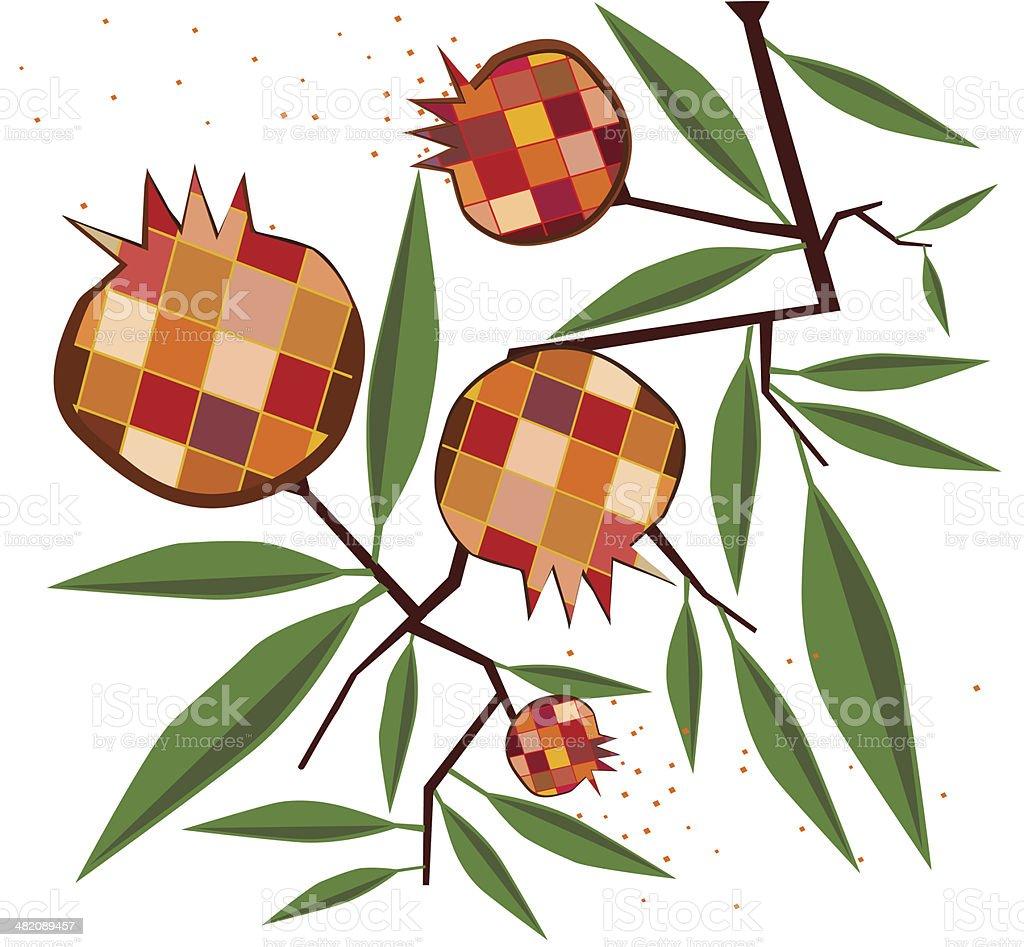 Pomegranates On Branch royalty-free stock vector art
