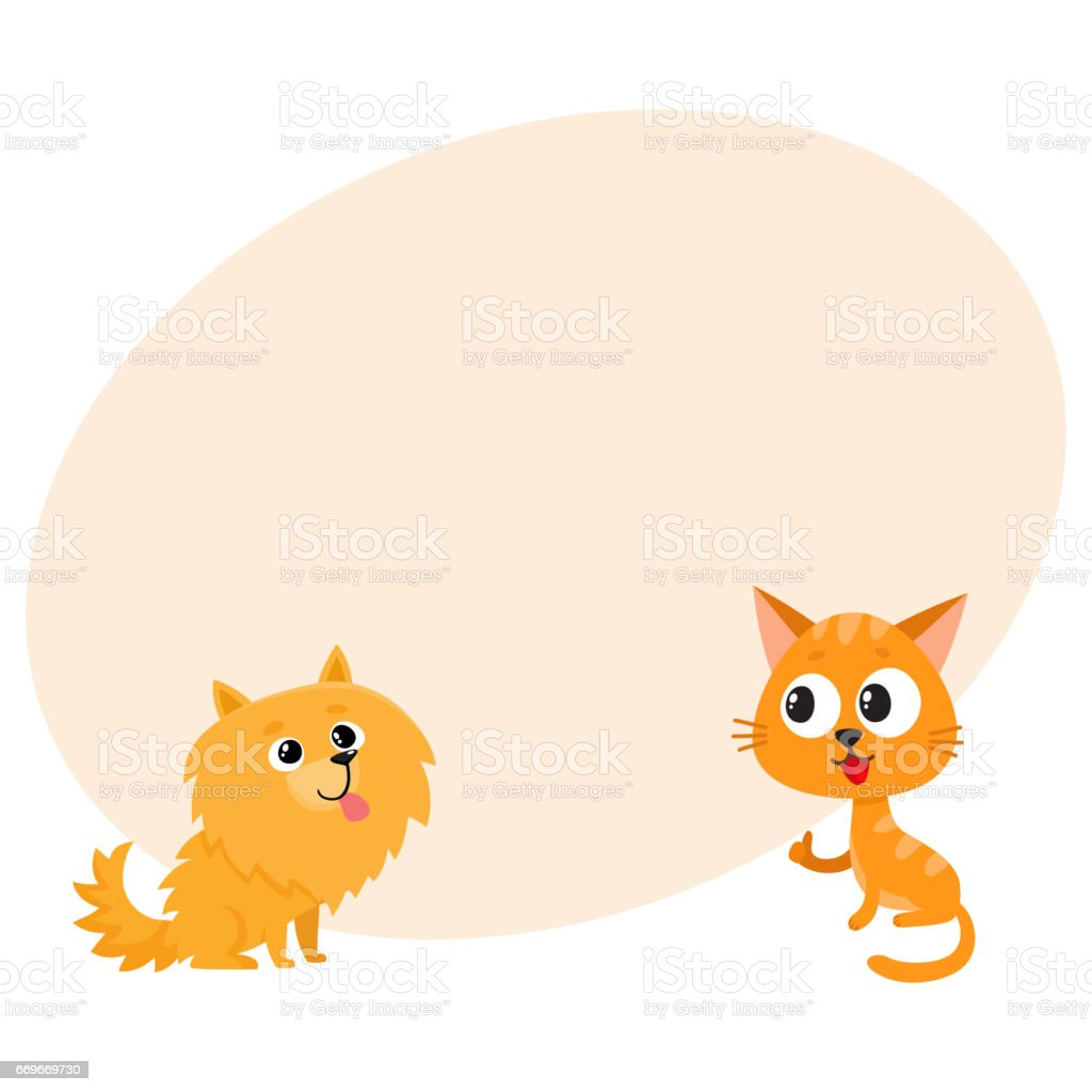 Pomeranian spitz dog and red cat, kitten characters, friendship concept vector art illustration