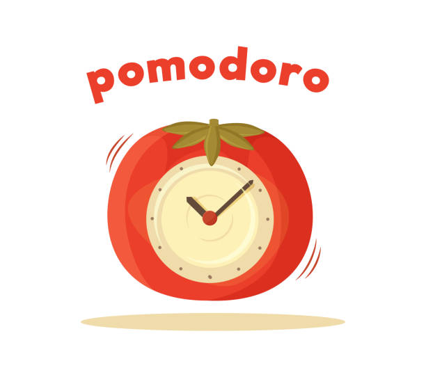 Pomodoro Clock Card Colored Vector Illustration Pomodoro clock card colored vector illustration of interesting watch situated in tomato case two pointers, alarming timer isolated on white background tomato sauce stock illustrations