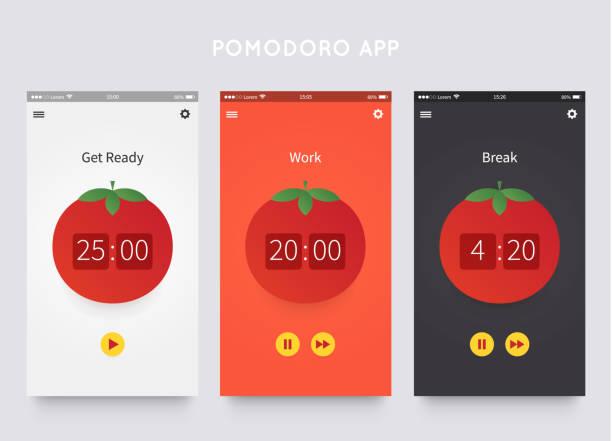 Pomodoro technique. App ui design Pomodoro technique. App ui design template with pomodoro clock. Time management. Vector illustartion tomato sauce stock illustrations
