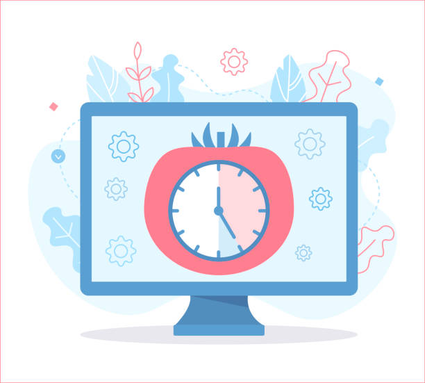 Pomodoro technique illustration Pomodoro technique. Timer: 25 minutes of work and 5 minutes of rest. Time management concept. Flat vector illustration. tomato sauce stock illustrations