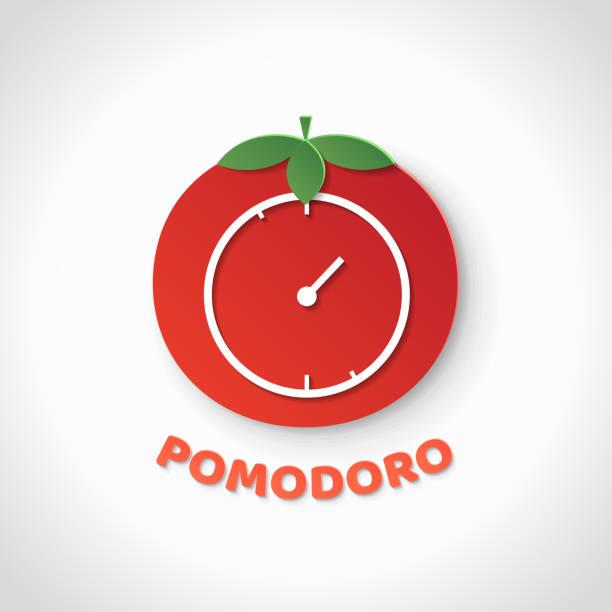 Pomodoro technique. Paper art realistic vector illustration Pomodoro technique. Paper art realistic vector illustration with pomodoro clock. Time management. tomato sauce stock illustrations