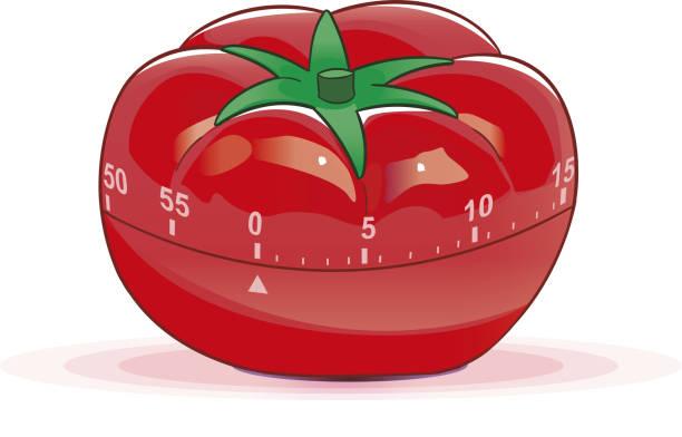 Pomodoro a tomato timer. tomato sauce stock illustrations