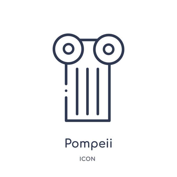pompeii ikone aus denkmälern umrandung sammlung. dünne linie pompeii icon auf weißem hintergrund isoliert. - pompeii stock-grafiken, -clipart, -cartoons und -symbole