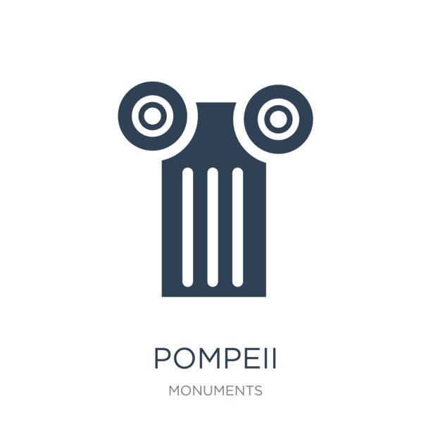 pompeji-symbol vektor auf weißem hintergrund, pompeji trendige füllte ich - pompeii stock-grafiken, -clipart, -cartoons und -symbole