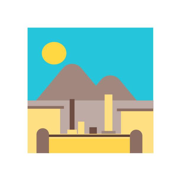 pompeji-symbol vektor zeichen und symbol isoliert auf weißem hintergrund, pompeji symbol konzept - pompeii stock-grafiken, -clipart, -cartoons und -symbole