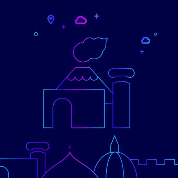 pompeji, italien vector line icon, illustration auf einem dunkelblauen hintergrund. verwandte grenze - pompeii stock-grafiken, -clipart, -cartoons und -symbole