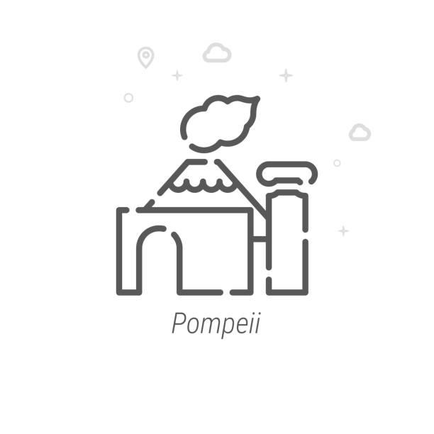 pompeii, italien vector line icon, symbol, pictogram, sign. licht abstract geometrische hintergrund. bearbeitbare stroke - pompeii stock-grafiken, -clipart, -cartoons und -symbole