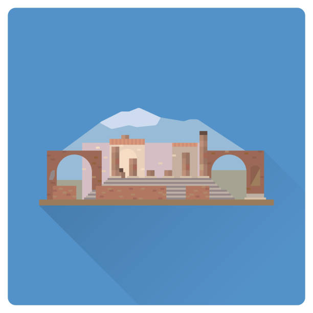 pompeji ruinen und vesuv, italien flachbild vektor icon - pompeii stock-grafiken, -clipart, -cartoons und -symbole