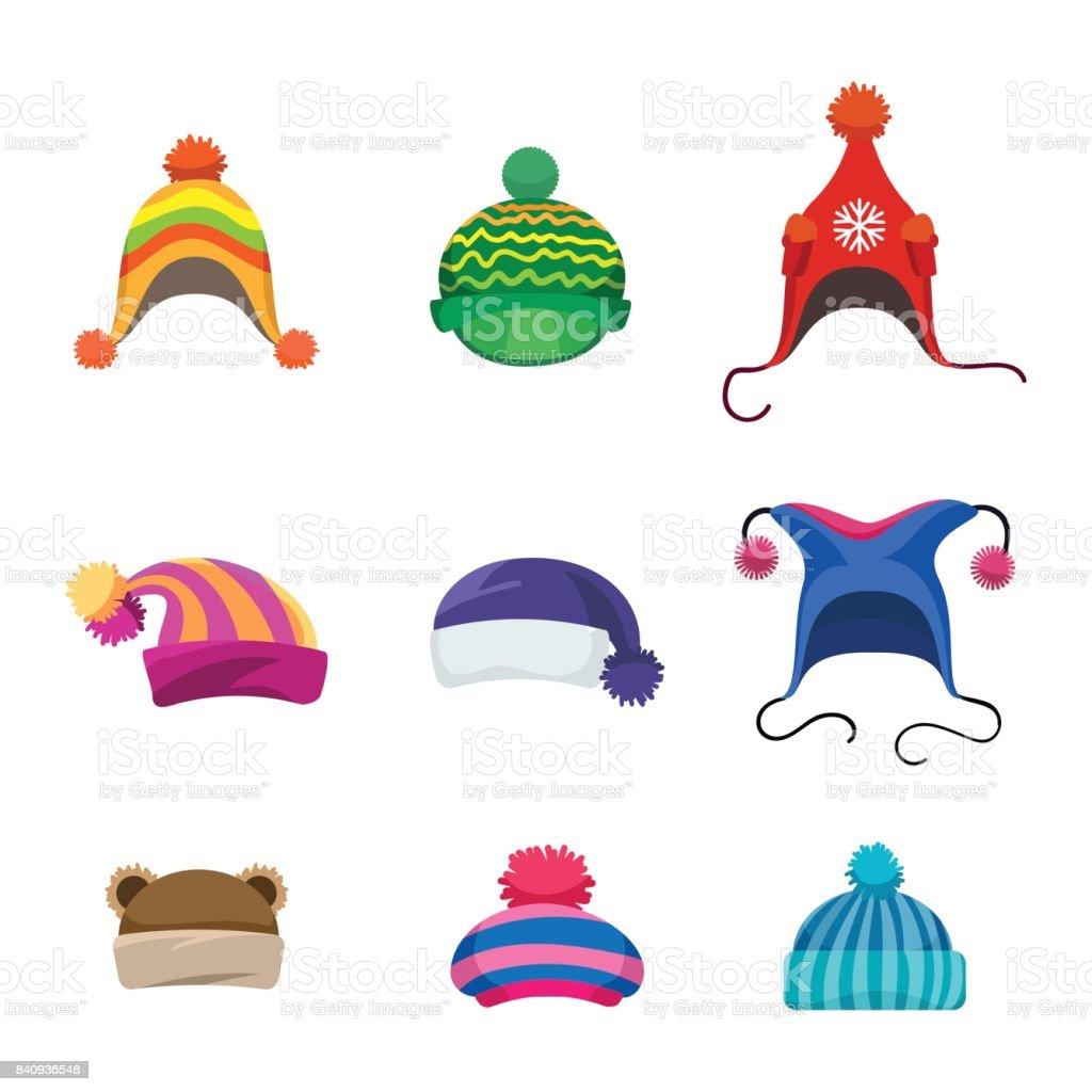Pompons winter hats set vector art illustration
