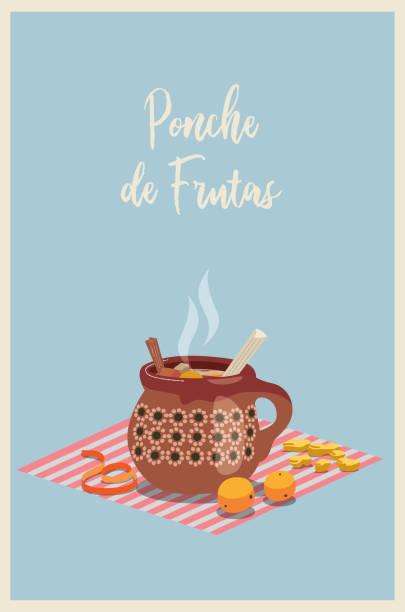stockillustraties, clipart, cartoons en iconen met ponche de frutas mexicano - punch