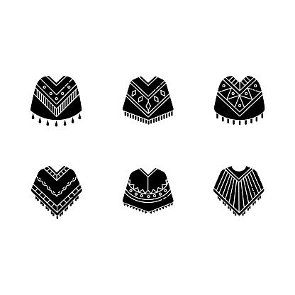 Poncho black glyph icons set on white space. Mexican, Peruvian, Brazilian wear. Hispanic ethnic woolen clothes. Motley warm traditional costume. Silhouette symbols. Vector isolated illustration