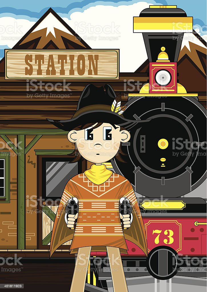 Poncho Cowboy at Train Station royalty-free stock vector art