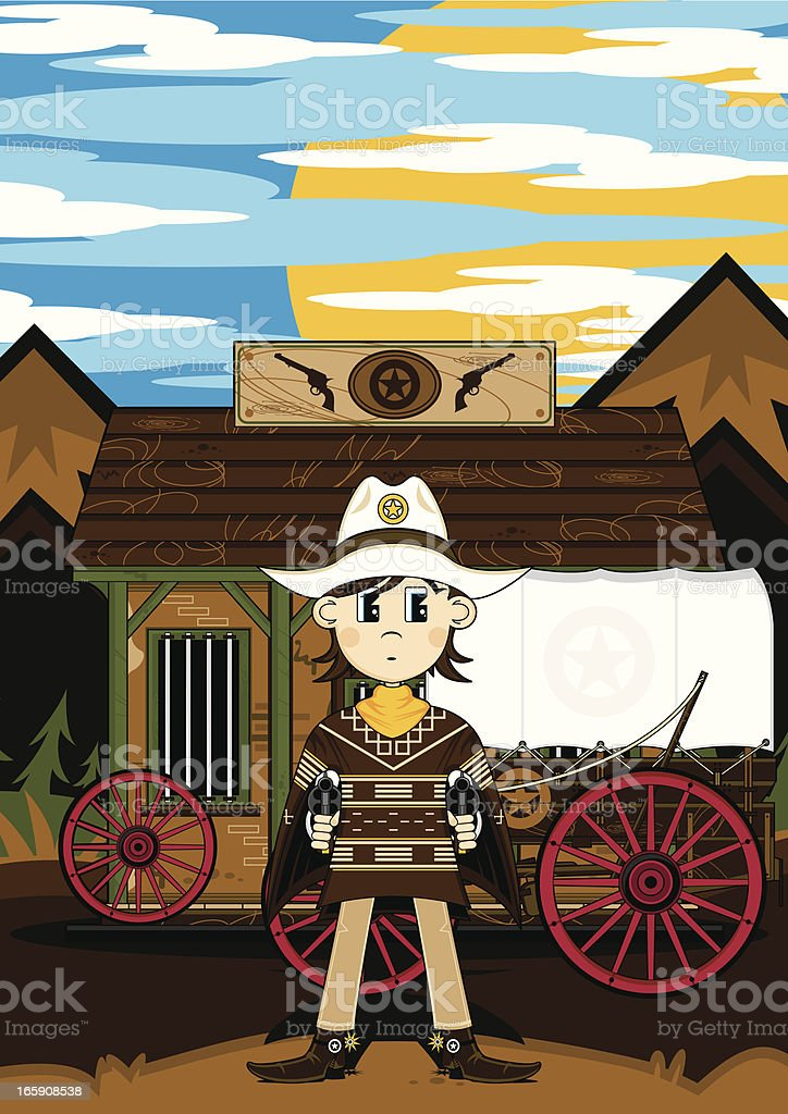 Poncho Cowboy & Jail with Wagon royalty-free stock vector art