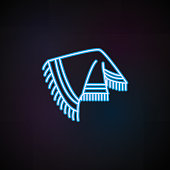 poncho icon in neon style. One of Woman Accessories collection icon can be used for UI, UX on dark gradient background