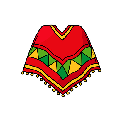 Ponchos are the national Mexican clothing. Bright traditional clothing. Ethnic costume in cartoon style. Vector.