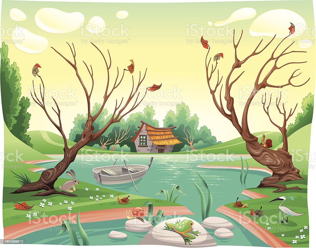 Pond and animal royalty-free stock vector art