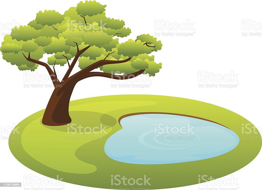 Pond and tree vector art illustration