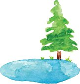 Vector illustration of pond and tree.