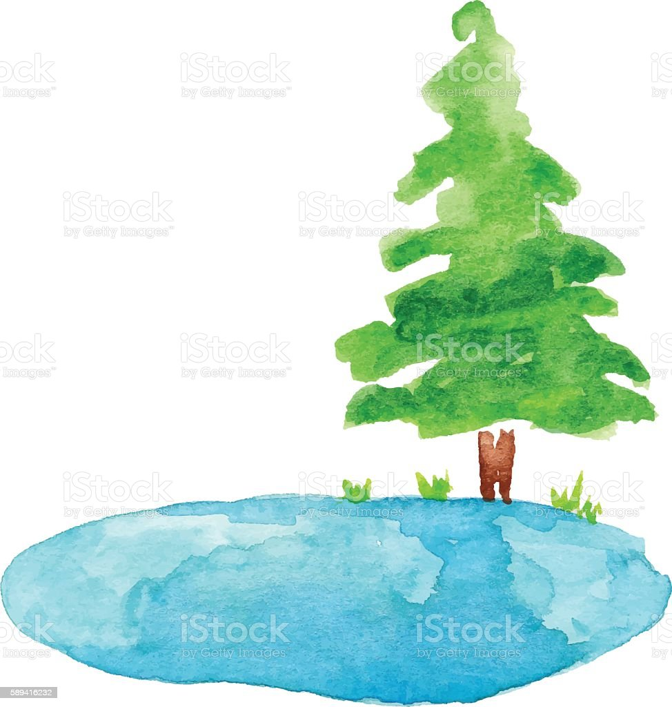 Pond and Tree Watercolor vector art illustration