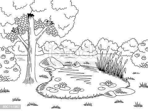 Pond graphic black white lake landscape sketch illustration vector