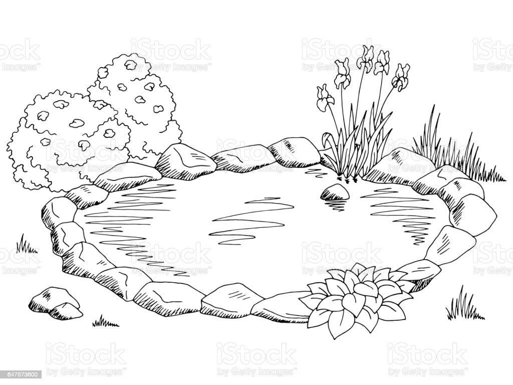Pond graphic black white landscape sketch illustration vector royalty free pond graphic black white landscape
