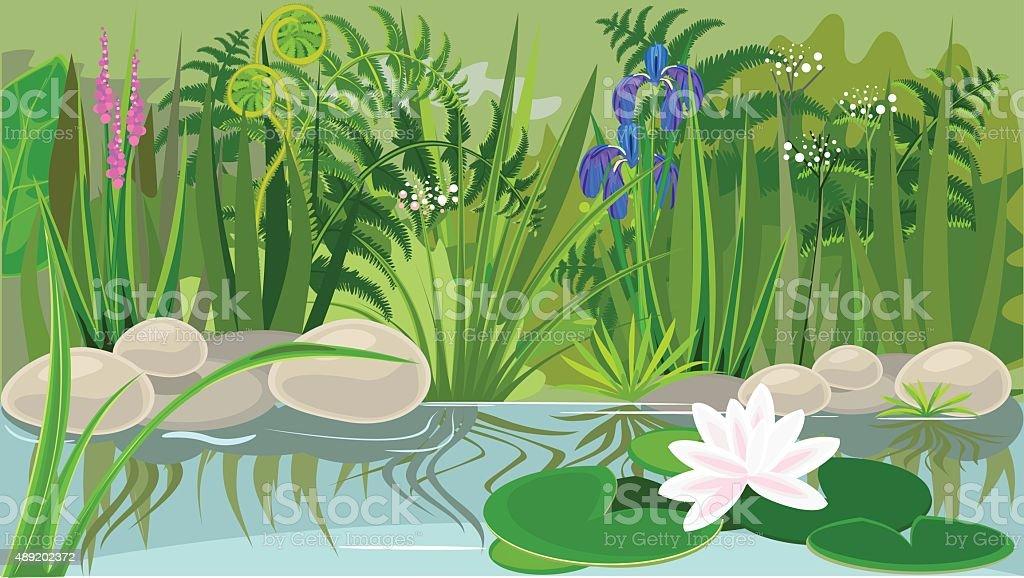 Pond landsaping vector art illustration