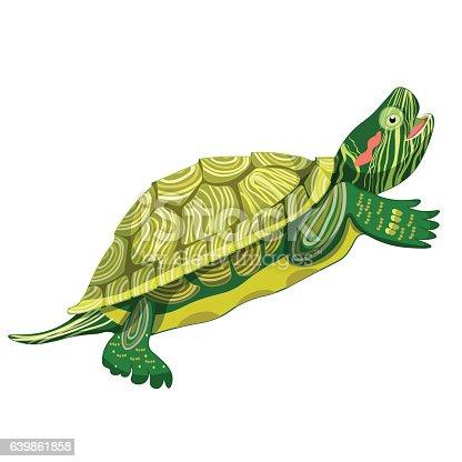 Pond slider turtle green smiling vector illustration