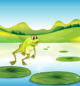 pond with a frog jumping