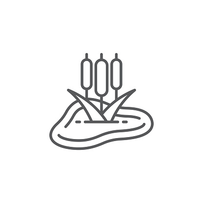 Pond with reeds icon, color, line, outline vector sign, linear style pictogram isolated on white. Symbol, logo illustration