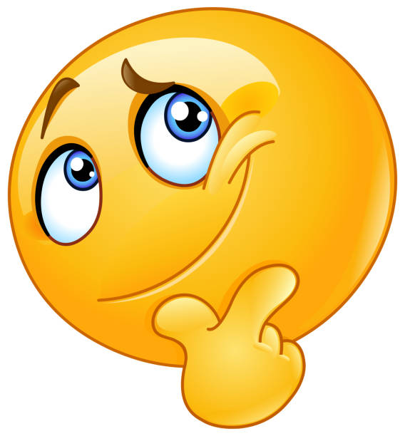 ilustraciones, imágenes clip art, dibujos animados e iconos de stock de reflexionar sobre emoticon - emoji confundido