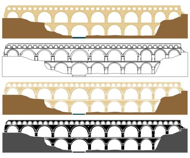 stockillustraties, clipart, cartoons en iconen met pont du gard, aquaduct in frankrijk. - pont du gard