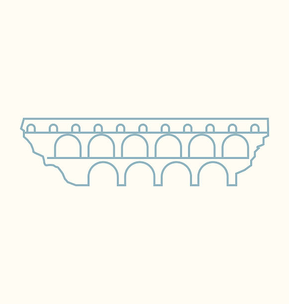 stockillustraties, clipart, cartoons en iconen met pont du gard colored line illustration - pont du gard