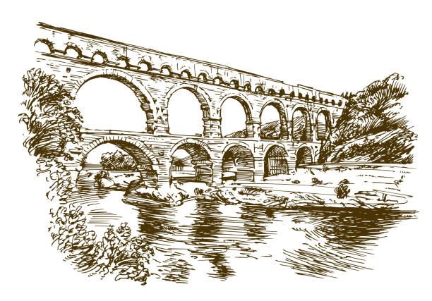 stockillustraties, clipart, cartoons en iconen met pont du gard, frankrijk. - pont du gard