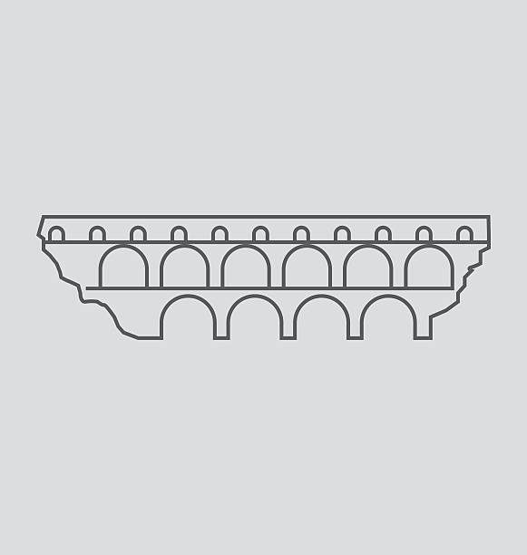 stockillustraties, clipart, cartoons en iconen met pont du gard line illustration - pont du gard