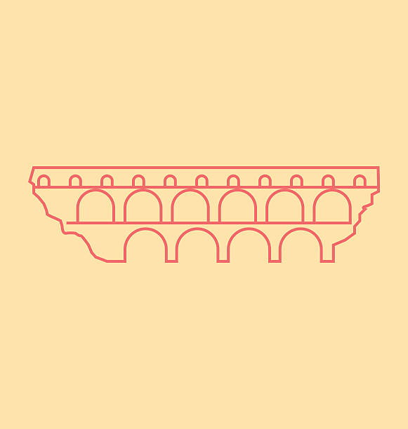 stockillustraties, clipart, cartoons en iconen met pont du gard solid vector illustration - pont du gard