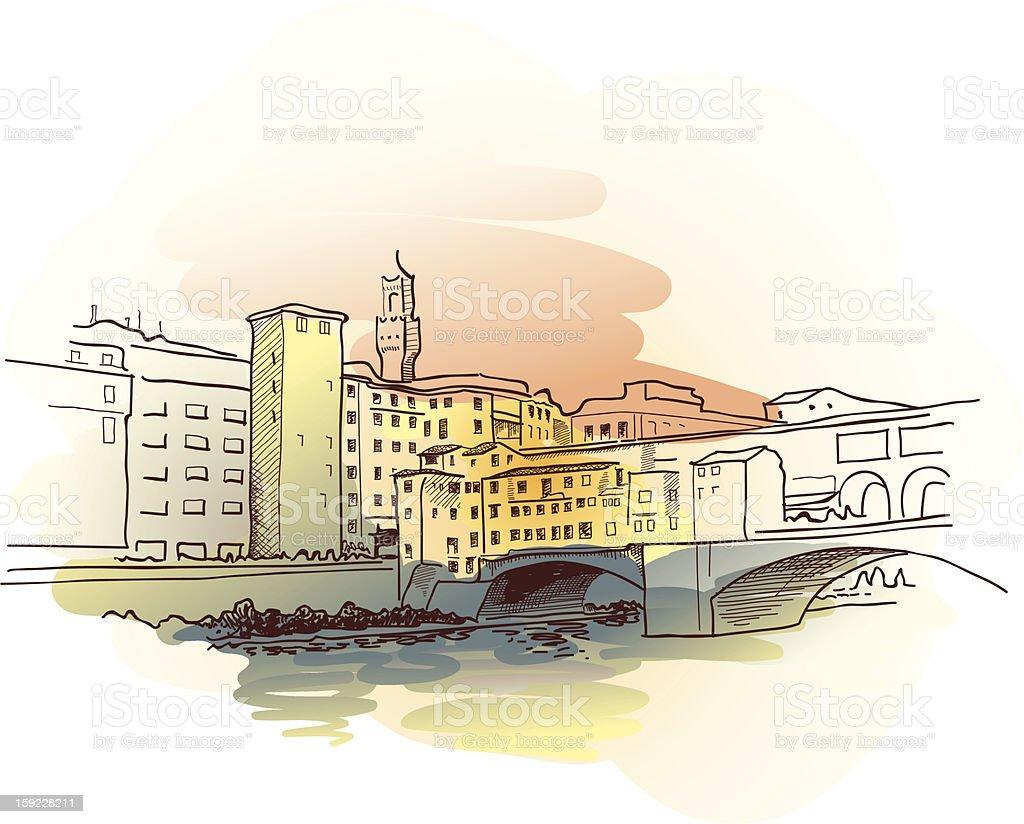 Ponte Vecchio Watercolor vector art illustration