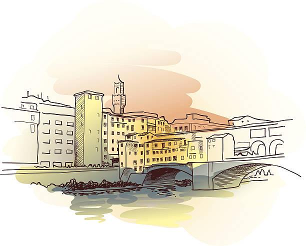 illustrazioni stock, clip art, cartoni animati e icone di tendenza di ponte vecchio acquerello - firenze