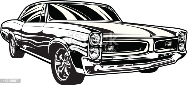 Illustration of a 1966 Pontiac GTO. Download includes: EPS, JPG, PDF formats.