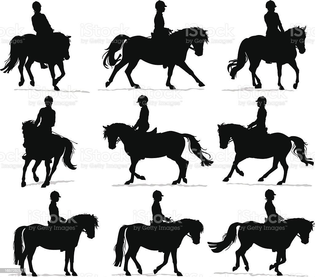 Pony Rider Silhouettes vector art illustration