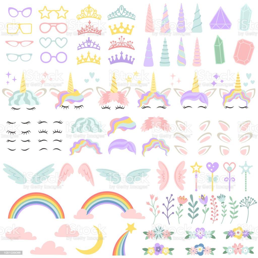 ポニー ユニコーン顔要素かわいい髪型魔法のホルンと小さな妖精の王冠
