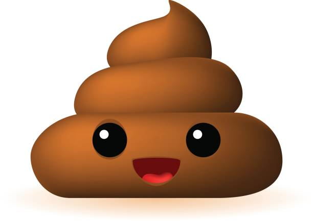 Poo Emoticon on White Background Isolated Vector Illustration feces stock illustrations