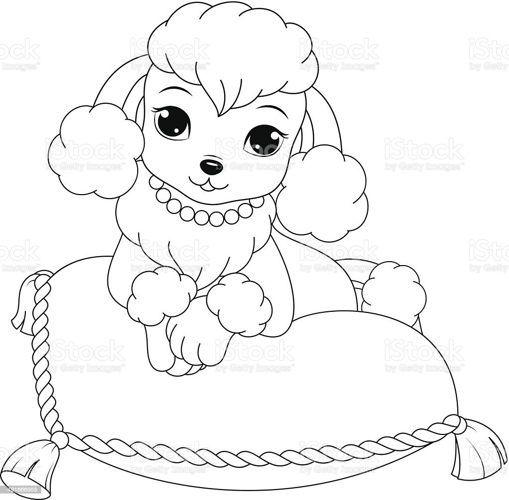 Poodle Coloring Page Stock Vector Art & More Images of ...